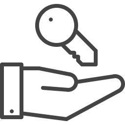 Hand and key icon