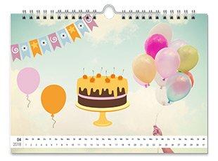 Geburtstagskalender mit Cliparts