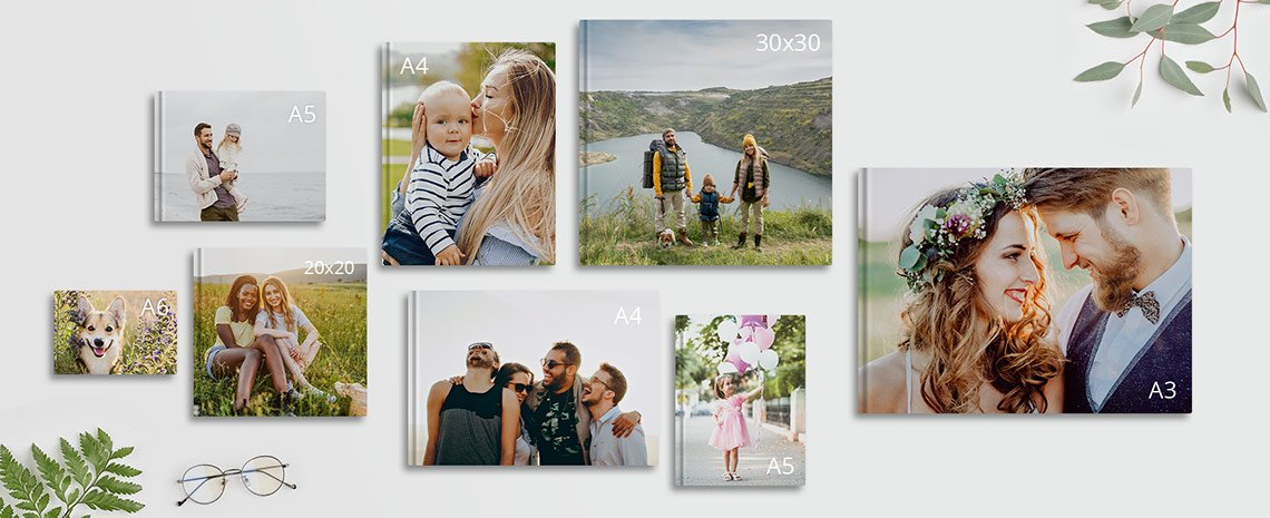 panoramica dei formati dei fotolibri disponibili su myphotobook