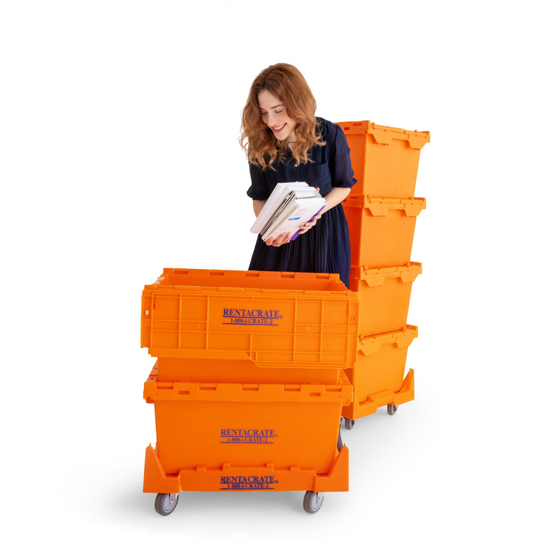 Teacher Packing In Plastic Crates