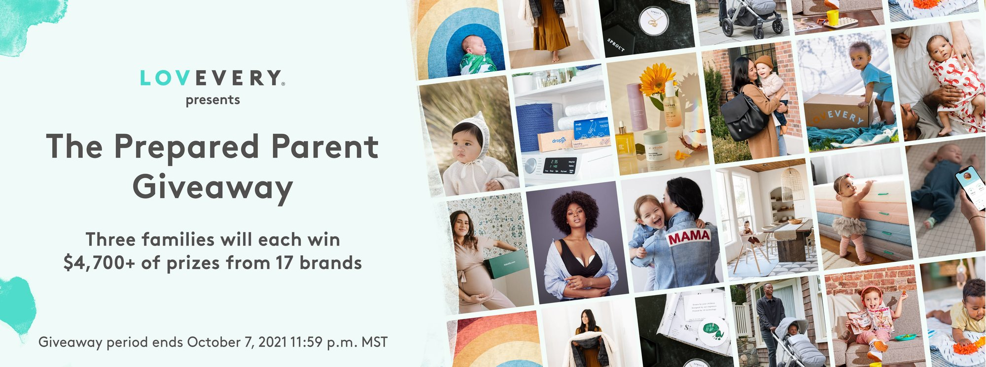 Prepared Parent Giveaway banner with pictures of all the prizes