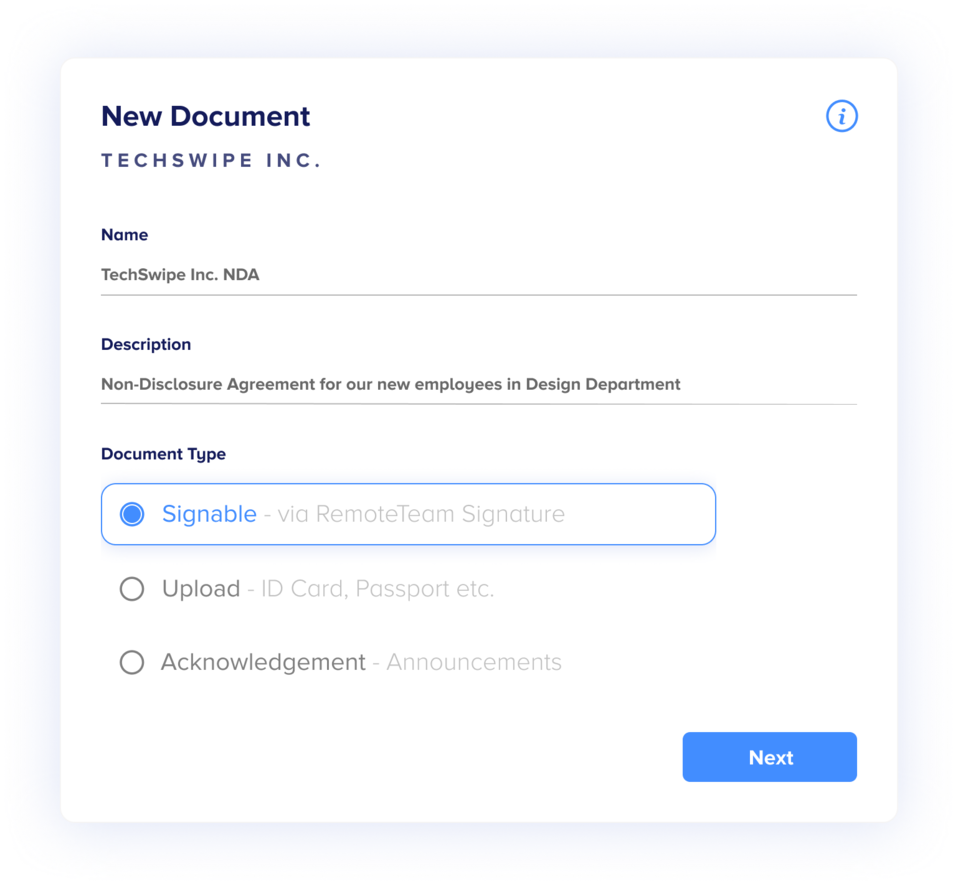Example from the RemoteTeam dashboard for managing documents like W-8BEN