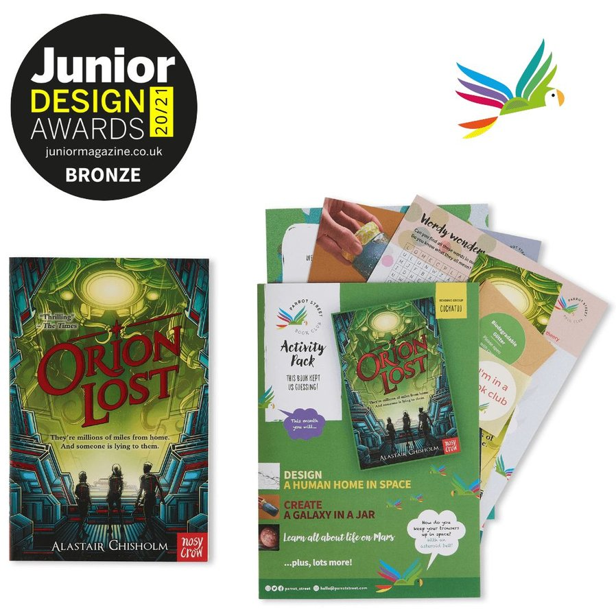 Orion Lost book cover and Parrot Street Book Club activity pack alongside Junior Design Awards Winner logo and an illustrated parrot