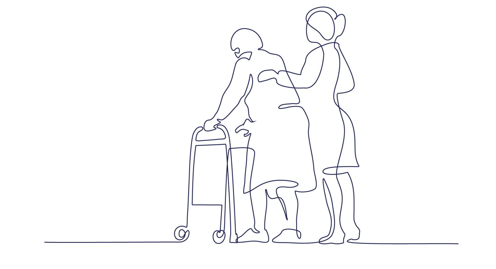 A graphic of a caretaker supporting a woman with a walker